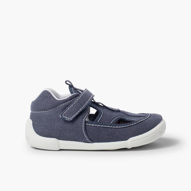 Sandali di tela per Bambino con Cinturino Adesivo