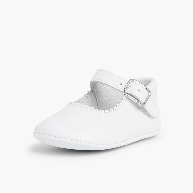 Scarpe/Scarpine Bambina Neonata Pelle Fibbia  Bianco