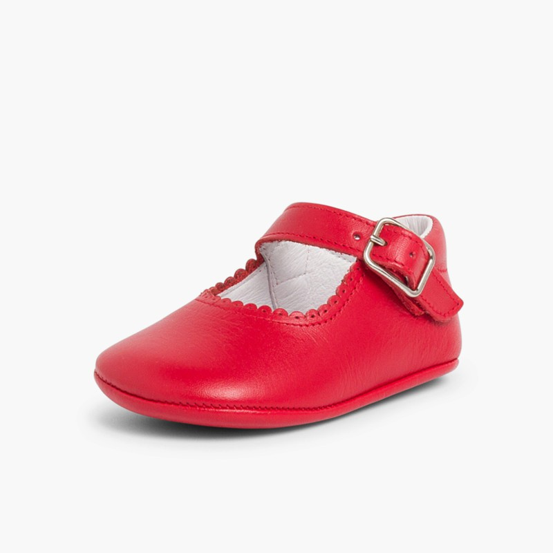 Scarpe/Scarpine Bambina Neonata Pelle Fibbia  Rosso