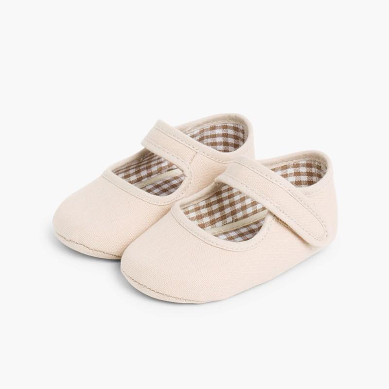 Scarpine neonato in tela con velcro Sabbia