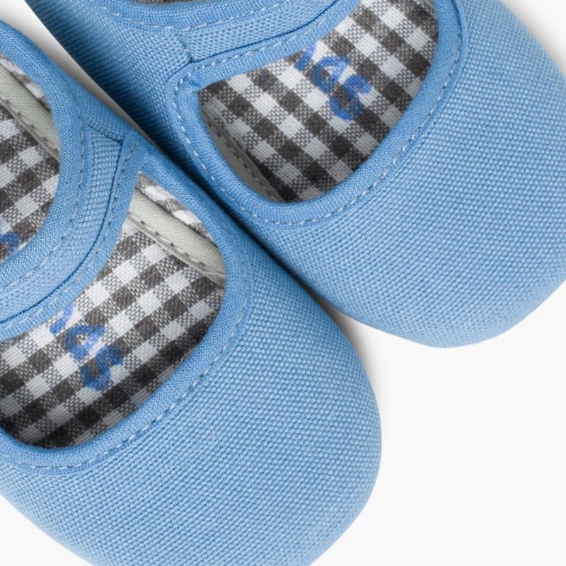 Scarpine neonato in tela con velcro Azzurro Hostess