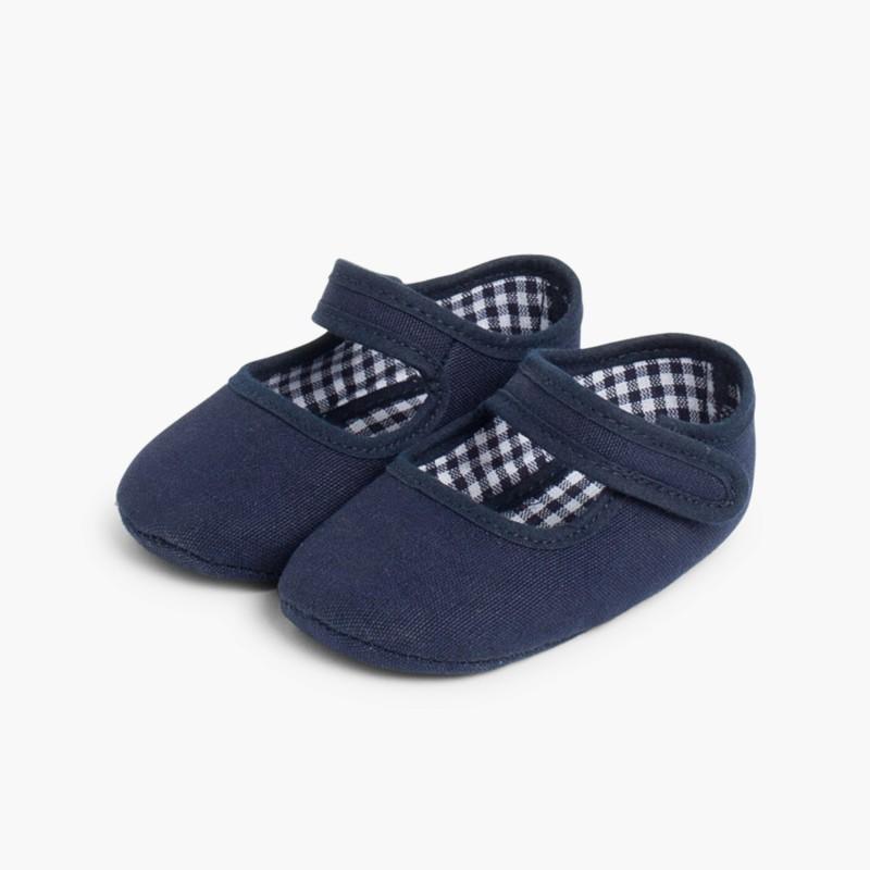 Scarpine neonato in tela con velcro Blu