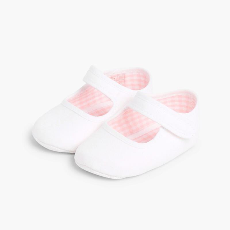 Scarpine neonato in tela con velcro Bianco