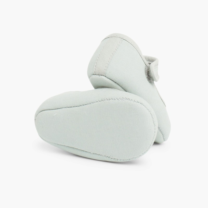 Scarpine neonato in tela con velcro Grigio