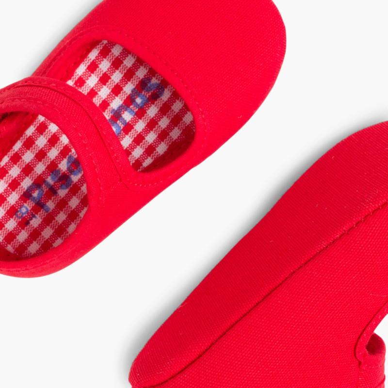 Scarpine neonato in tela con velcro Rosso