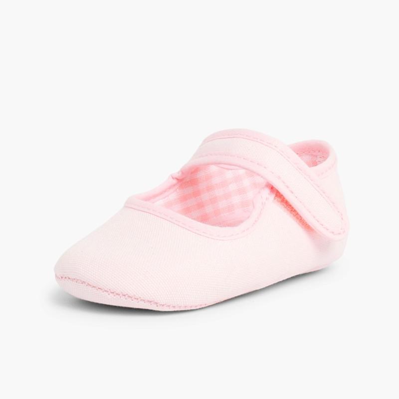 Scarpine neonato in tela con velcro Rosa
