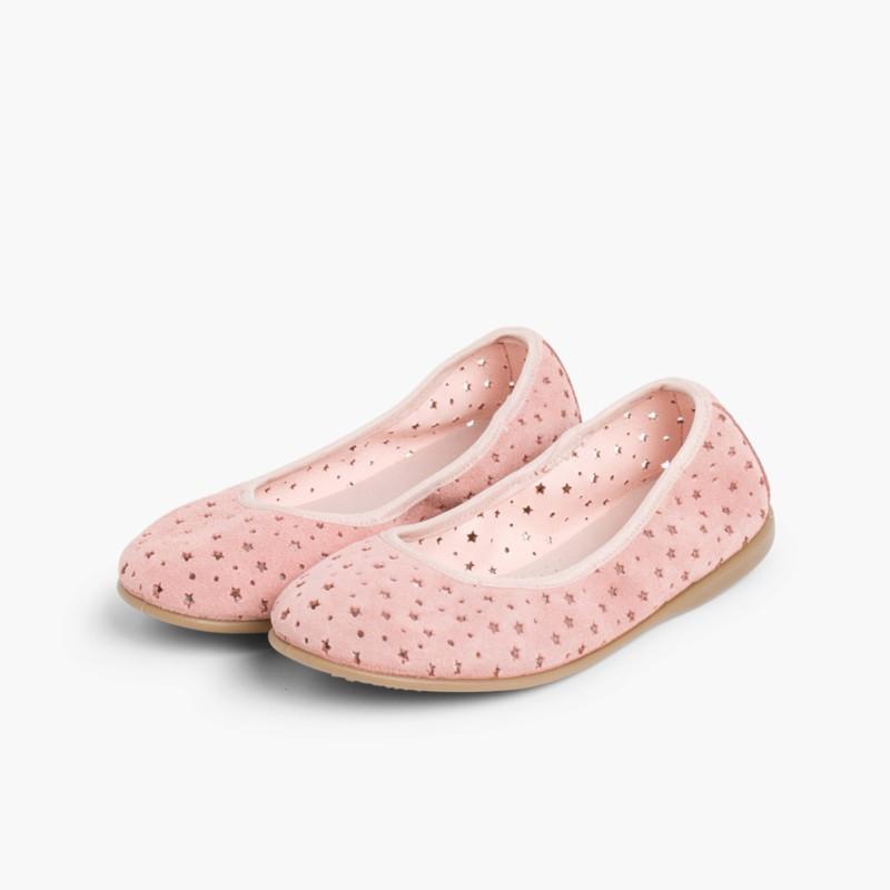 Ballerine Scamosciate Elastico Impuntura Stelle Rosa Pallido