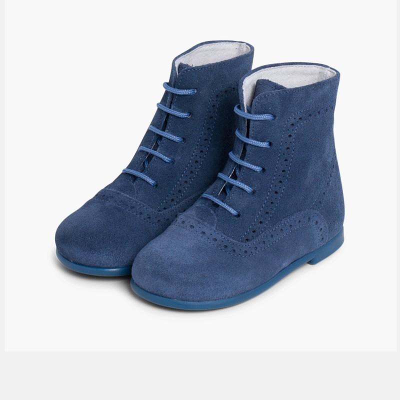 Stivali tronchetti per bambina scamosciati Blu Di Persia