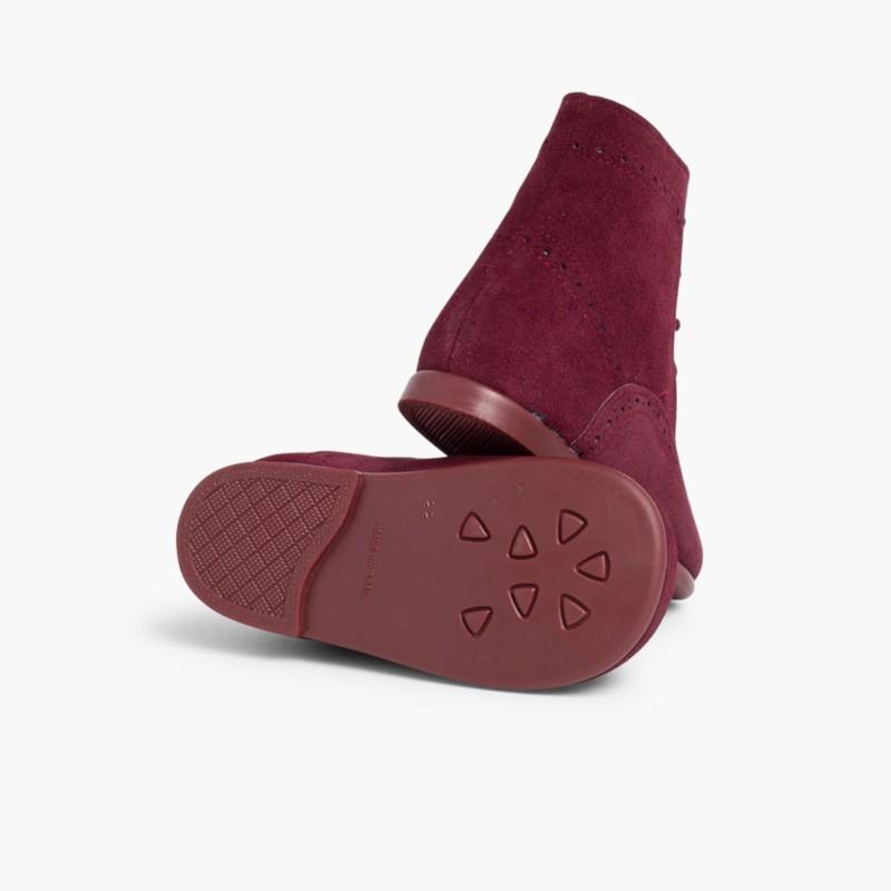 Stivali tronchetti per bambina scamosciati Bordeaux
