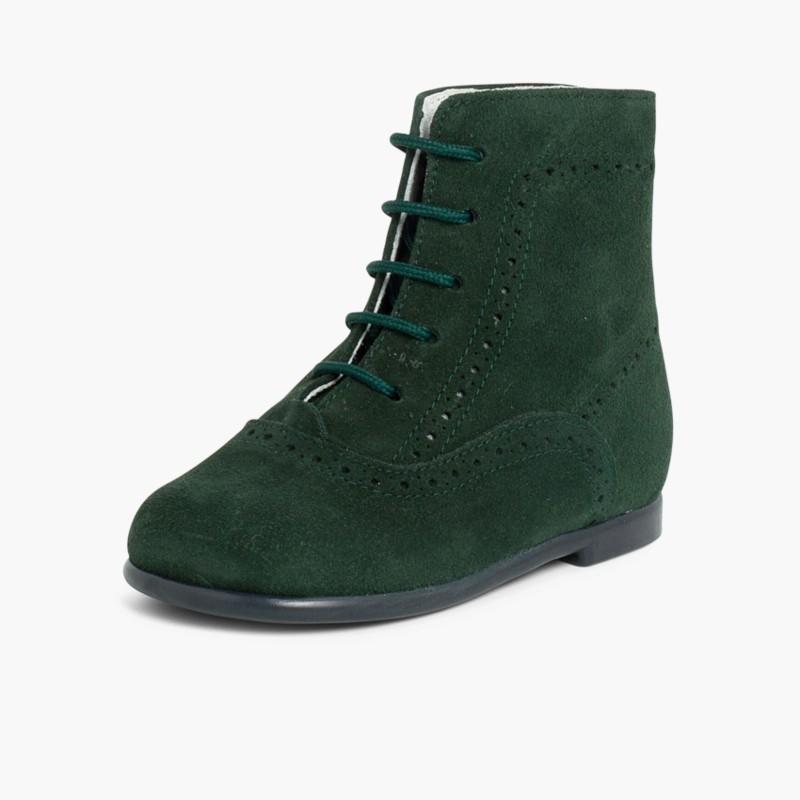 Stivali tronchetti per bambina scamosciati Verde