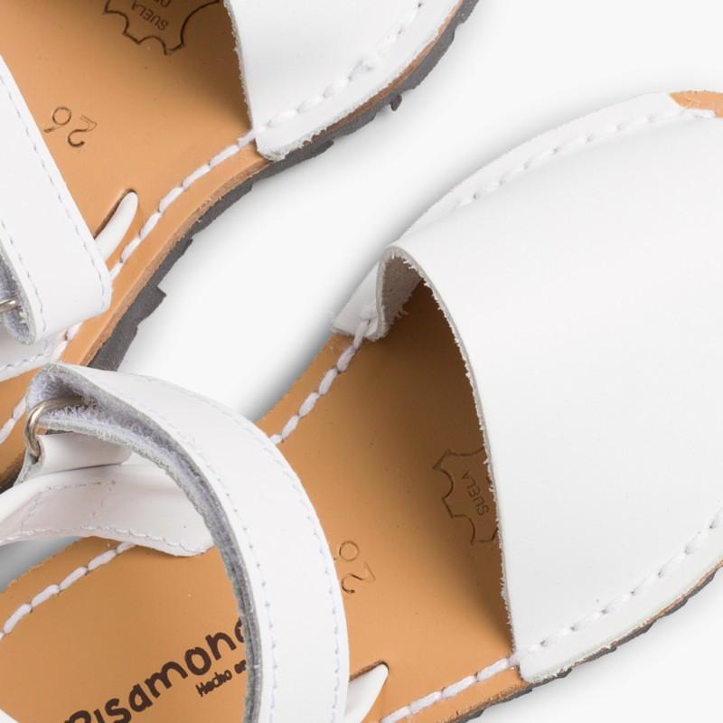Sandali Minorchine Bambini Avarcas nappa velcro bianco
