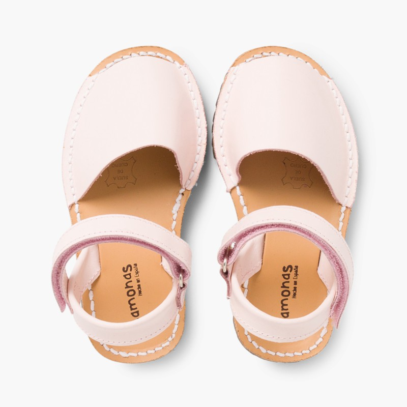 Sandali Minorchine Bambini Avarcas nappa velcro rosa