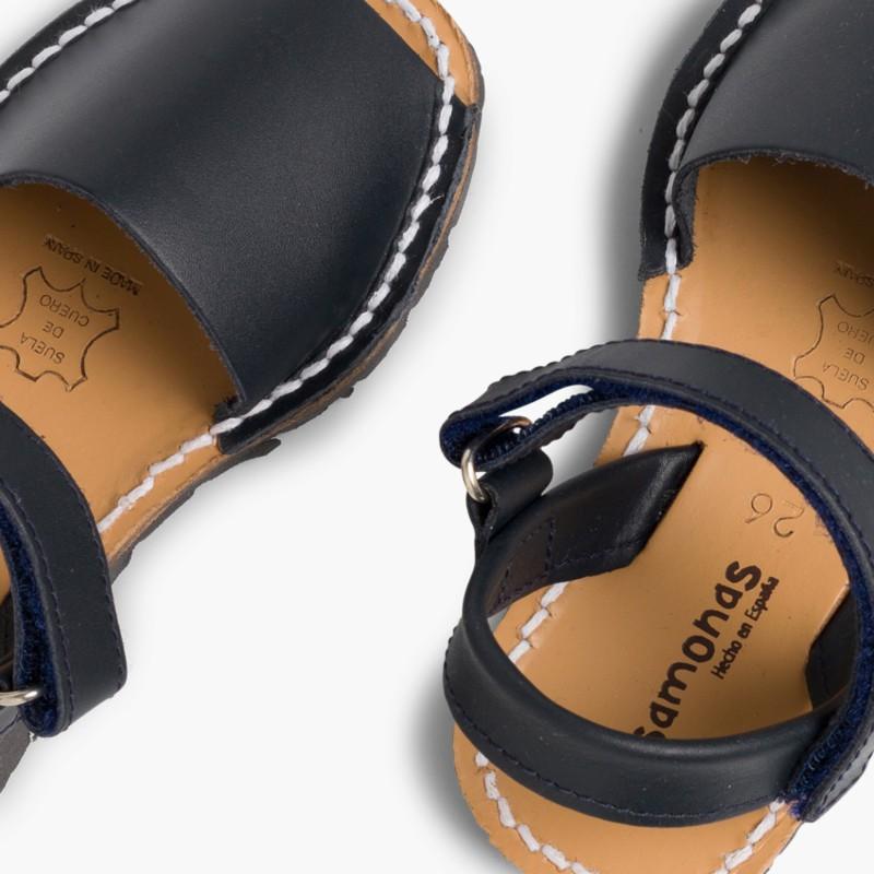 Sandali Minorchine Bambini Avarcas nappa velcro blu
