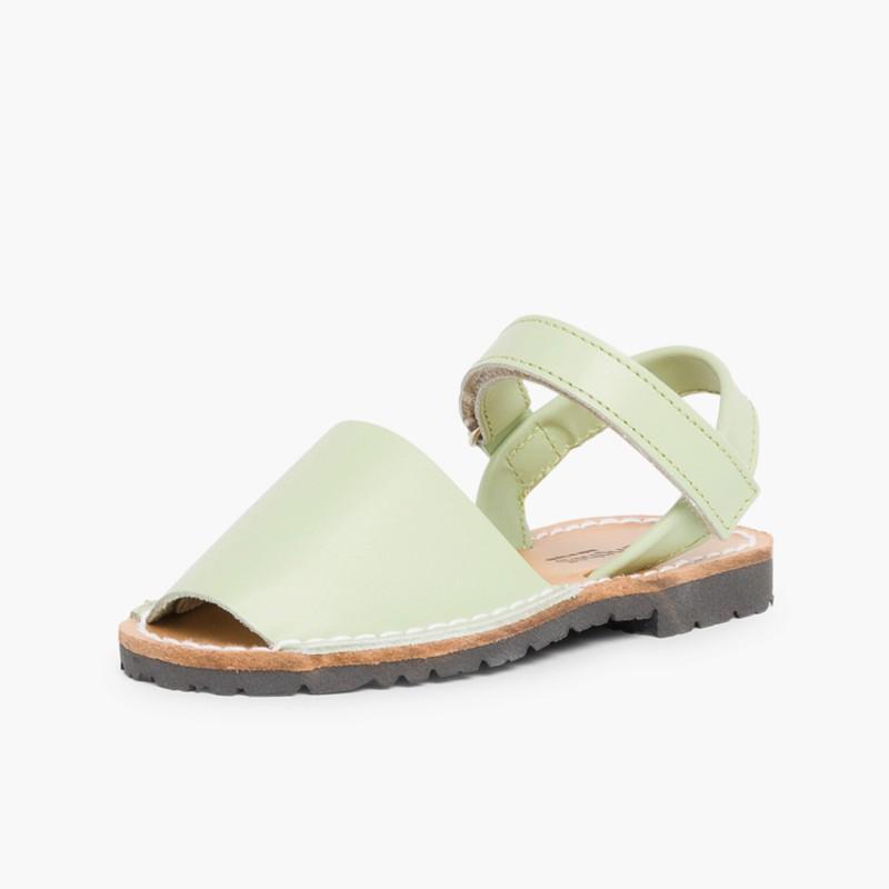 Sandali Minorchine Bambini Avarcas nappa velcro Verde Menta