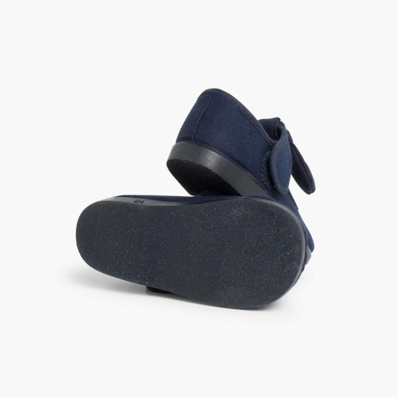 Scarpe con Cinturino a Fiocco Tela Velcro