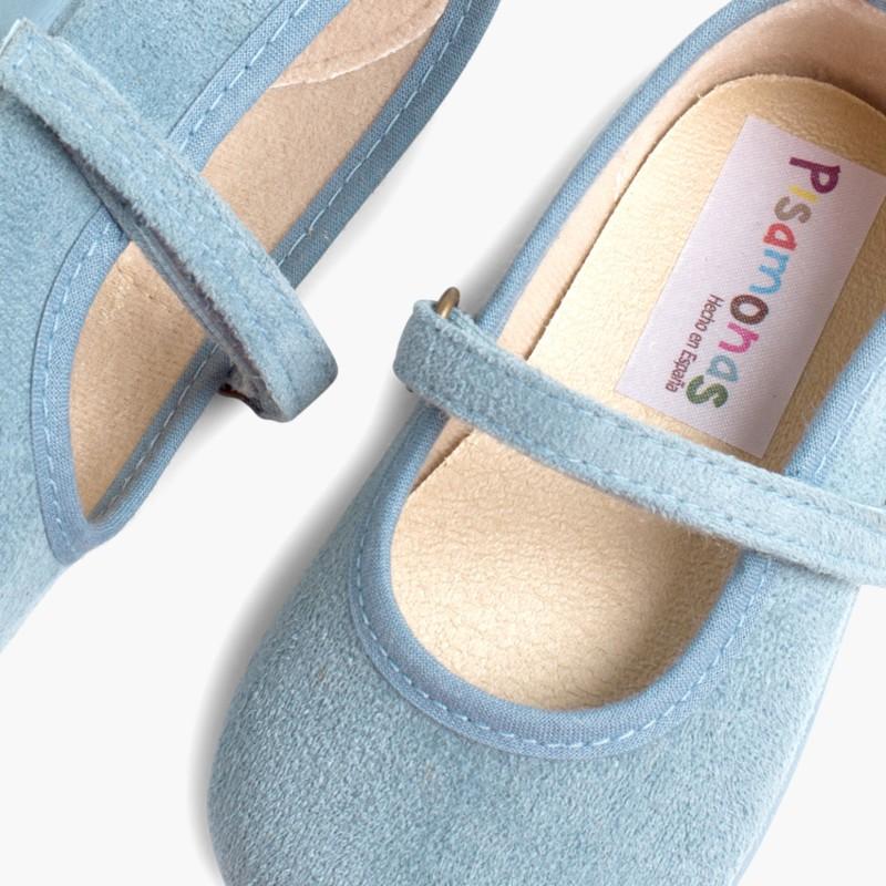 Scarpe bambina effetto scamosciato Velcro Azurro Hostess
