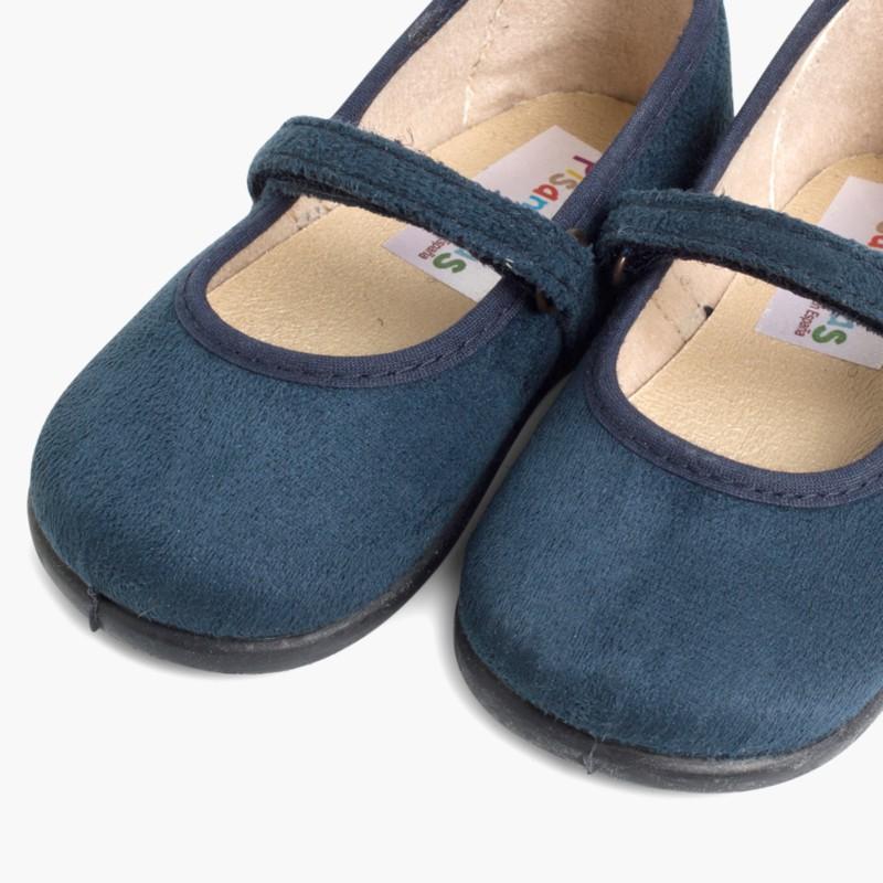 Scarpe bambina effetto scamosciato Velcro Blu