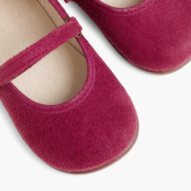 Scarpe bambina effetto scamosciato Velcro Bordeaux