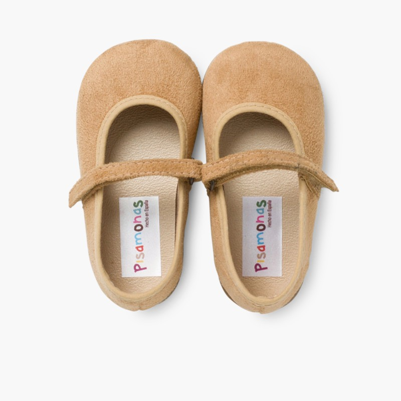 Scarpe bambina effetto scamosciato Velcro Cammello