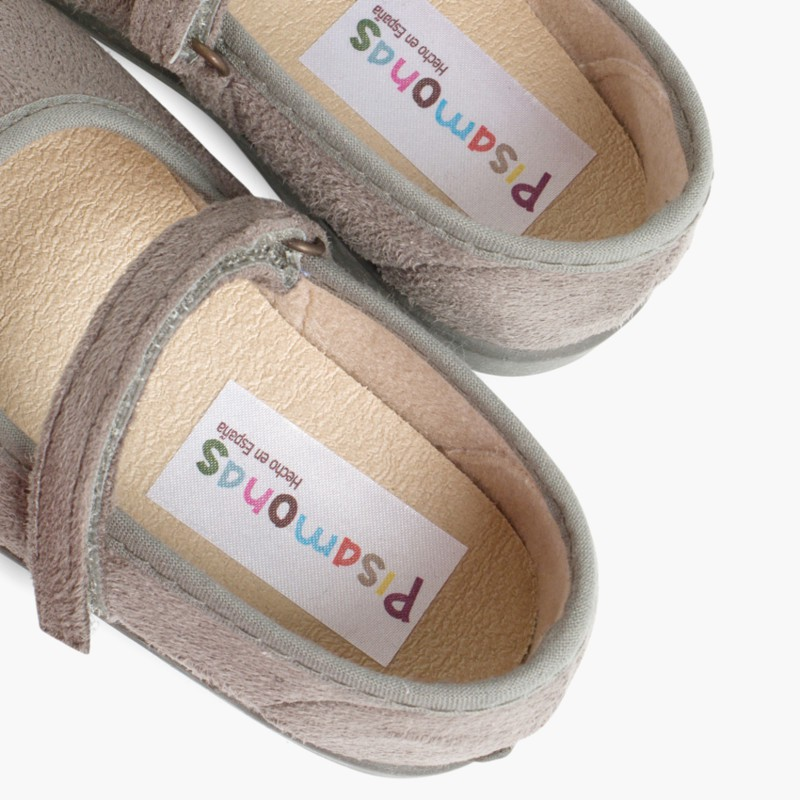 Scarpe bambina effetto scamosciato Velcro Grigio