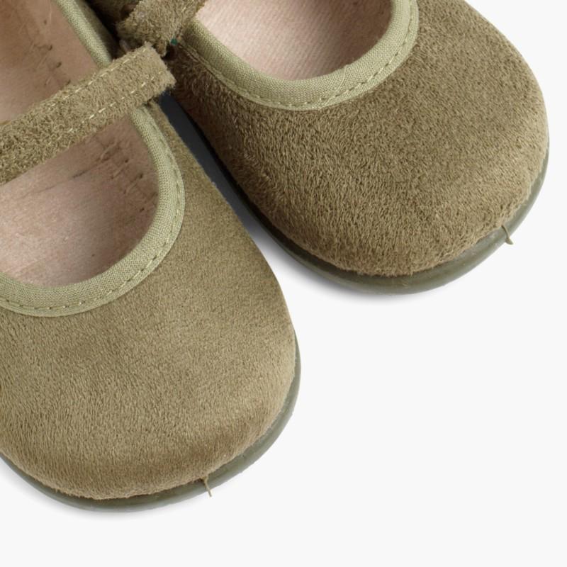Scarpe bambina effetto scamosciato Velcro Kaki