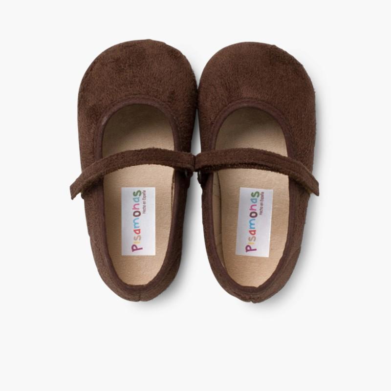 Scarpe bambina effetto scamosciato Velcro Marrone