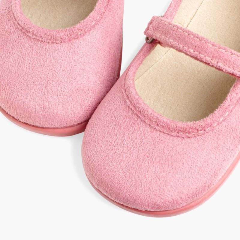 Scarpe bambina effetto scamosciato Velcro Rosa