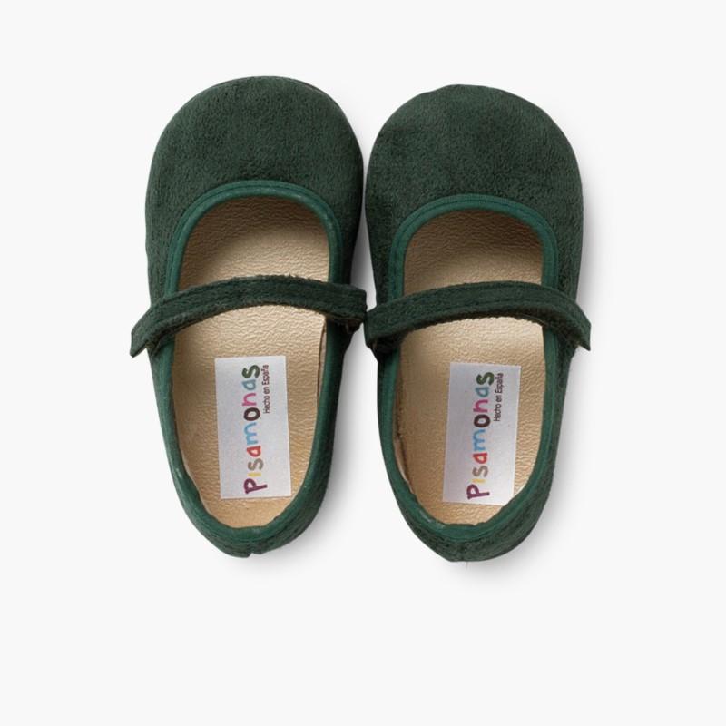 Scarpe bambina effetto scamosciato Velcro Verde