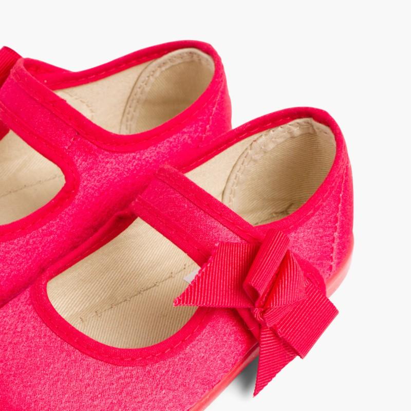 Scarpe di raso bambina Velcro