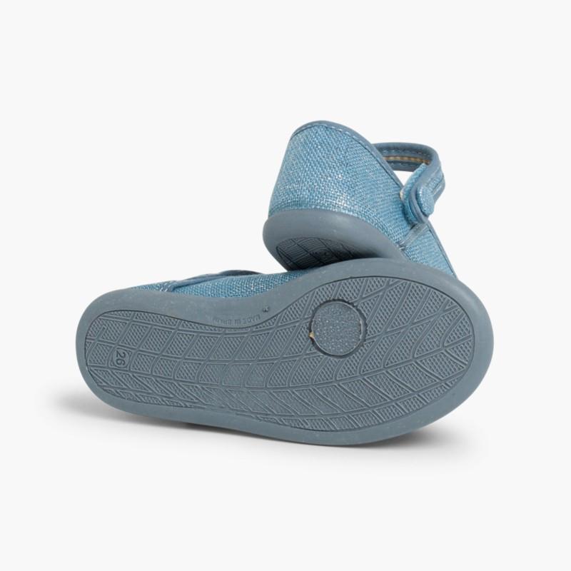 Scarpe con cinturino velcro in lino metallizzato