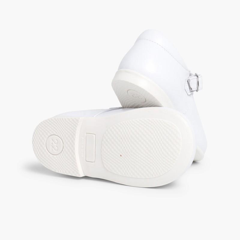 Scarpe Occhio di Bue Primi Passi Pelle Fibbia Bianco