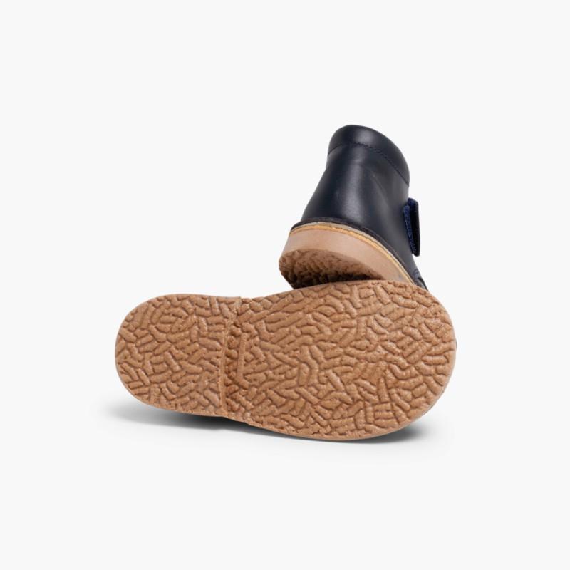 Polacchini di pelle per la Scuola Stivaletti con Velcro