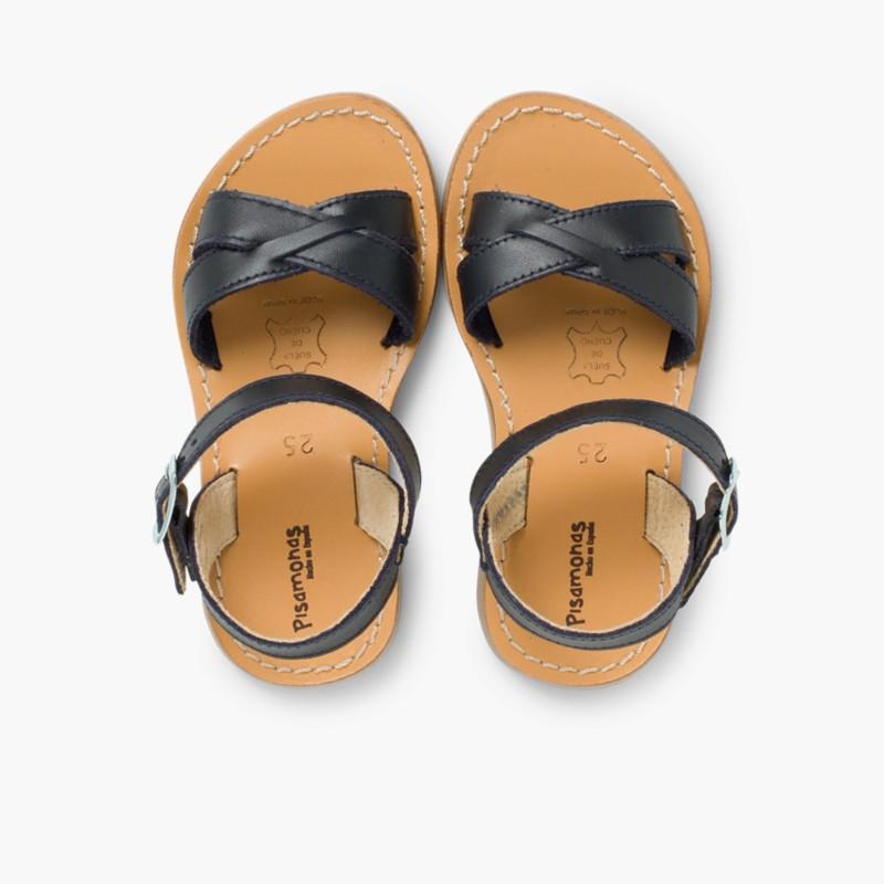 Sandali pelle liscia incrociati Blu