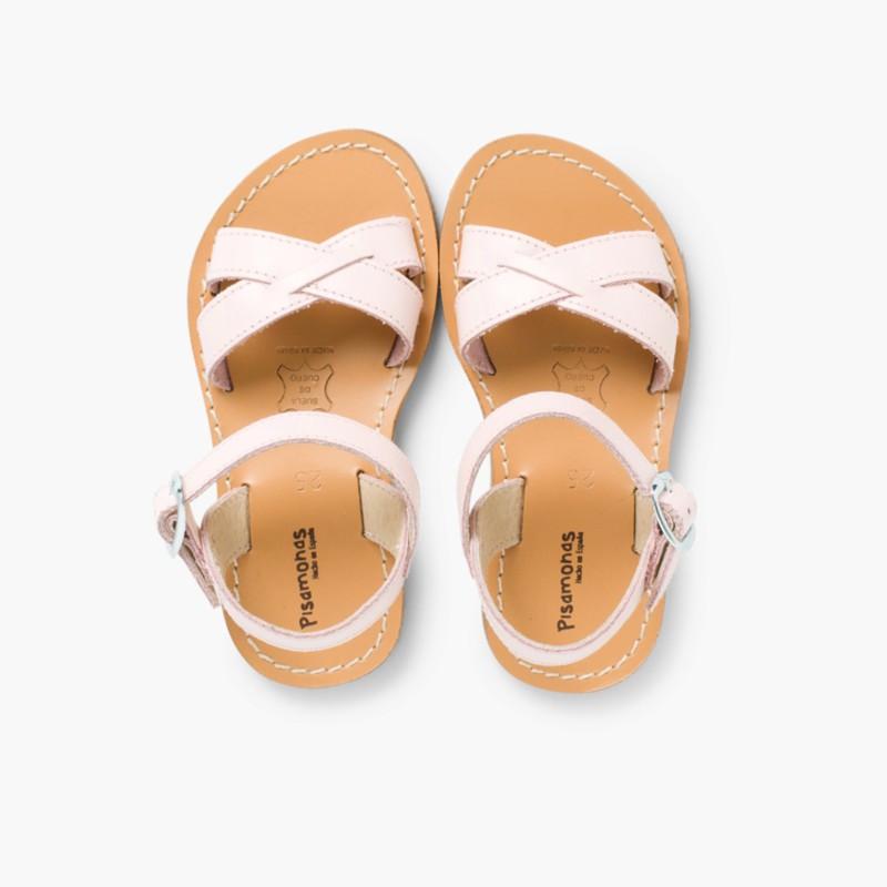 Sandali pelle liscia incrociati Rosa