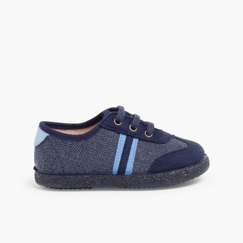 Sneakers effetto Scamosciato due lacci Blu di Persia