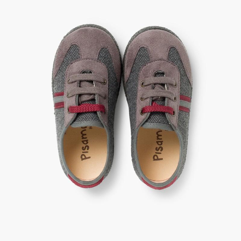 Sneakers effetto Scamosciato due lacci Bordeaux