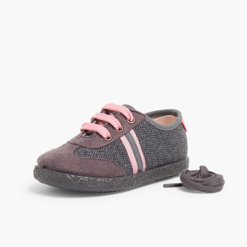 Sneakers effetto Scamosciato due lacci Corallo