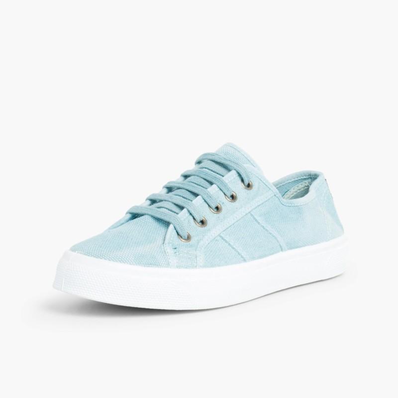 Sneakers Lacci Tela Slavata Acquamarina