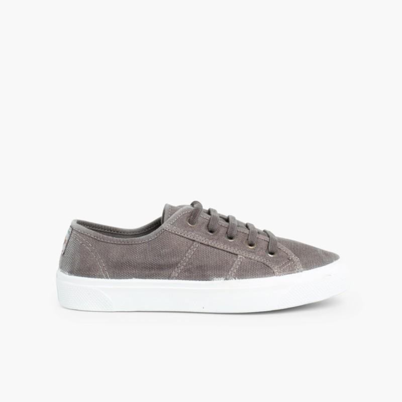 Sneakers Lacci Tela Slavata Grigio