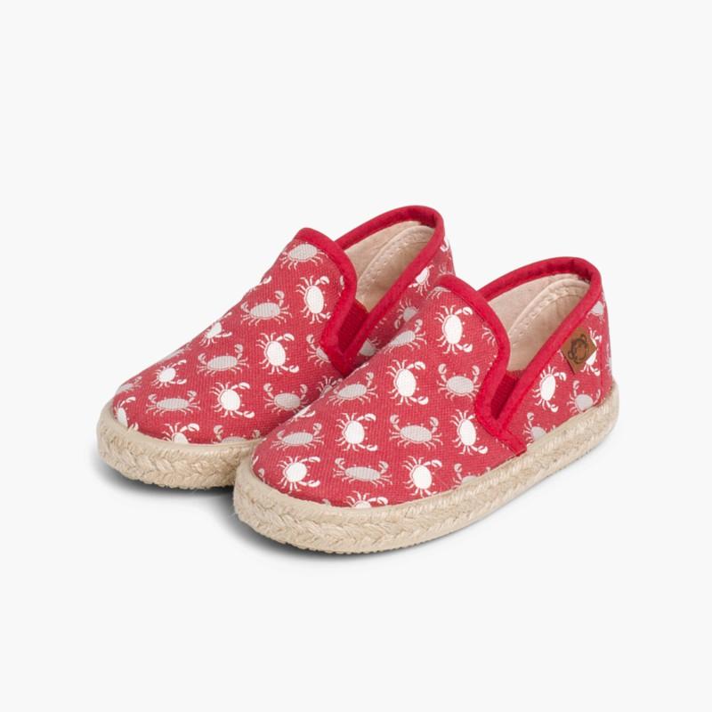 Sneakers Tela Stampata con Elastici Suola in Corda