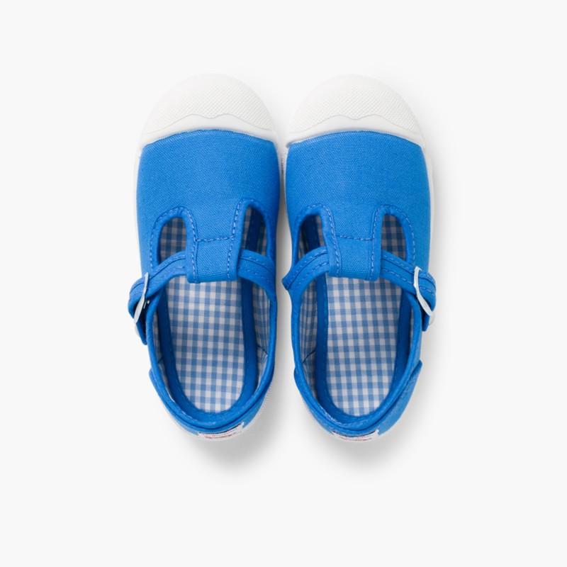 Sneakers Tela Bambini Punta Gomma Tipo T-bar