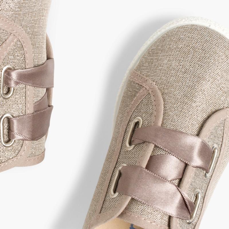 Sneakers Tela Metalizzata Fiocco Raso