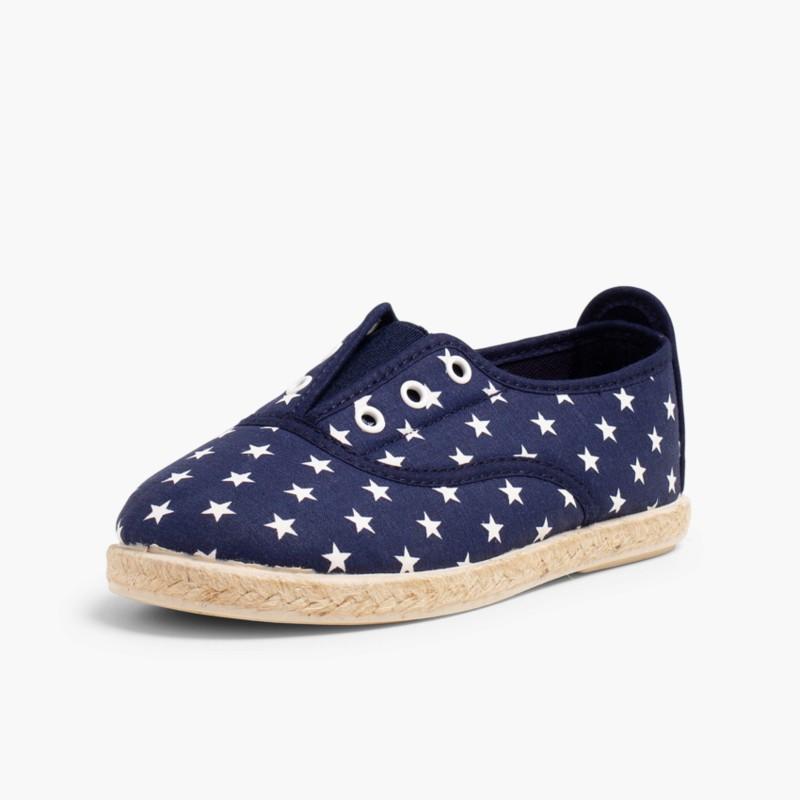 Sneakers con Stelle Senza Lacci Blu
