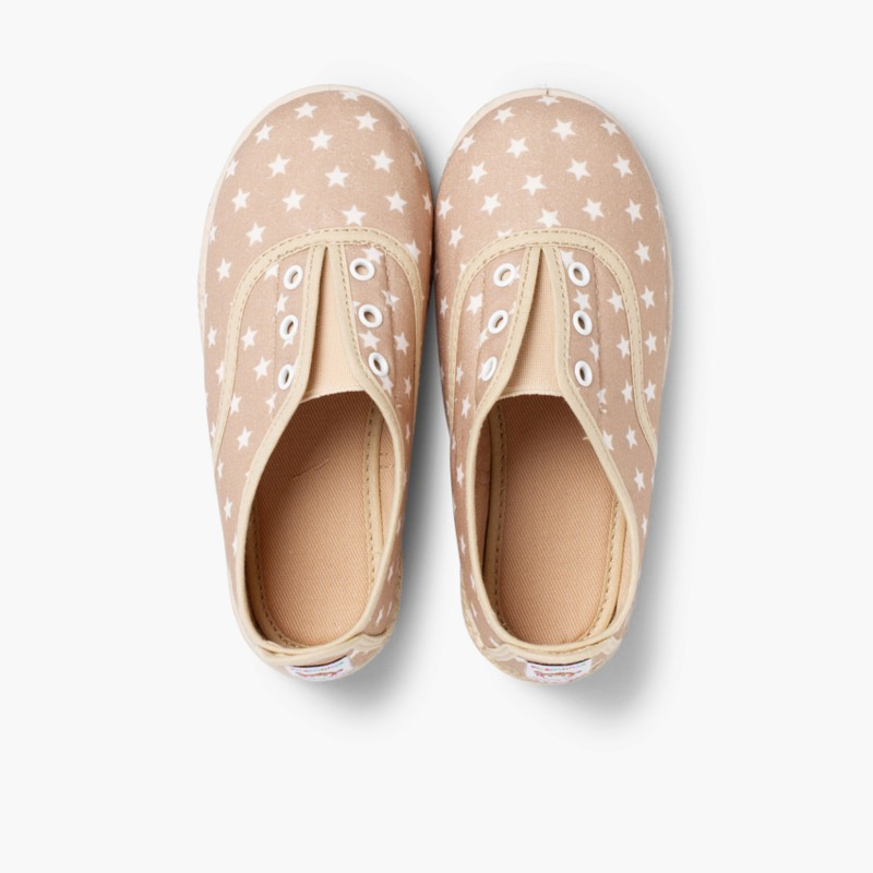 Sneakers con Stelle Senza Lacci Beige