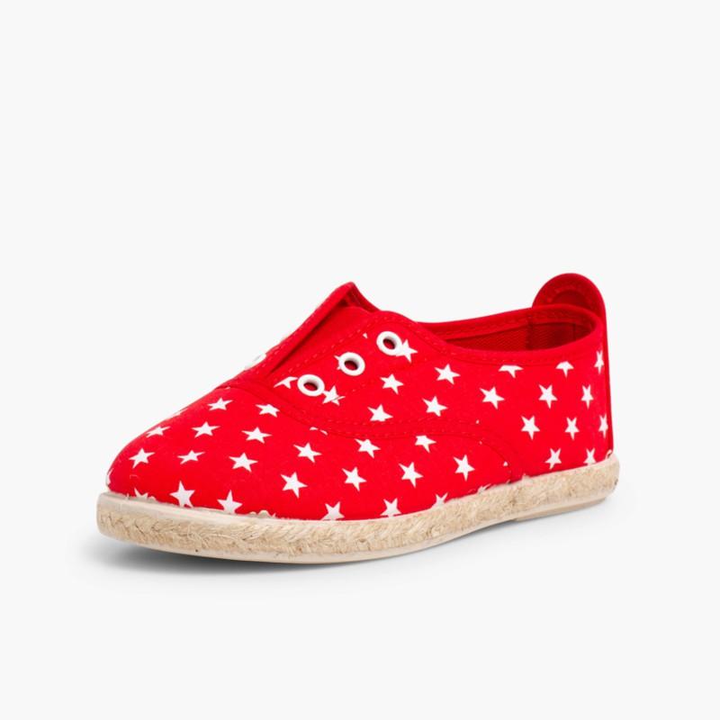Sneakers con Stelle Senza Lacci Rosso