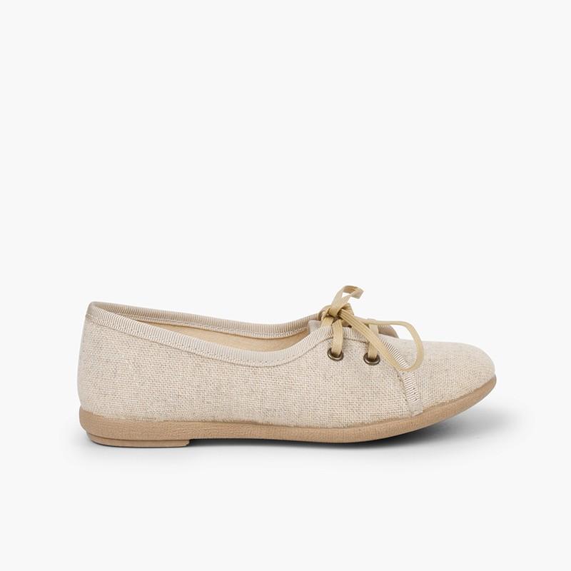 Scarpe Blucher bambina lino