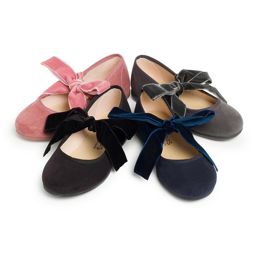 Scarpe con cinturino con fiocco di velluto per bambina