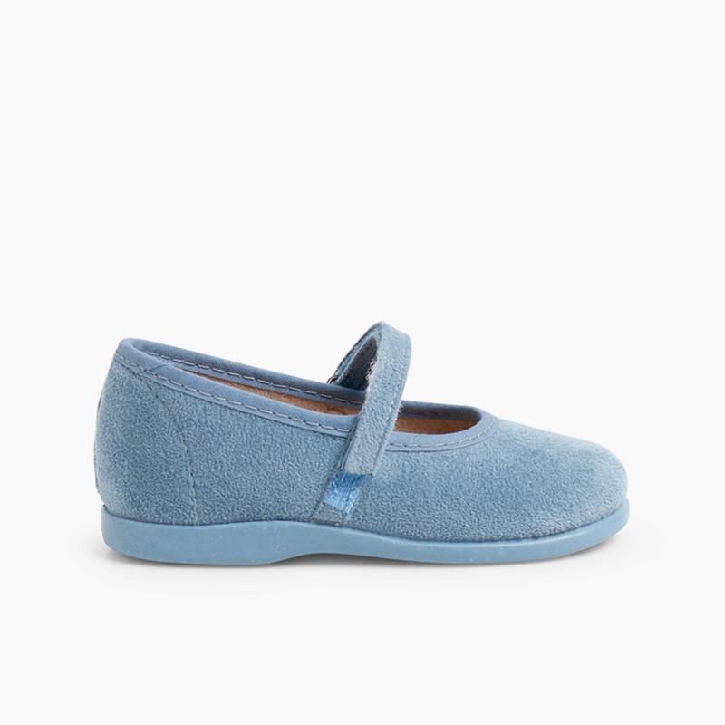 Merceditas Niña Bamara Velcro  azul azafata