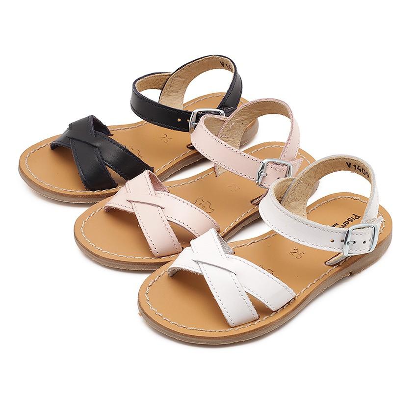Sandali pelle liscia incrociati