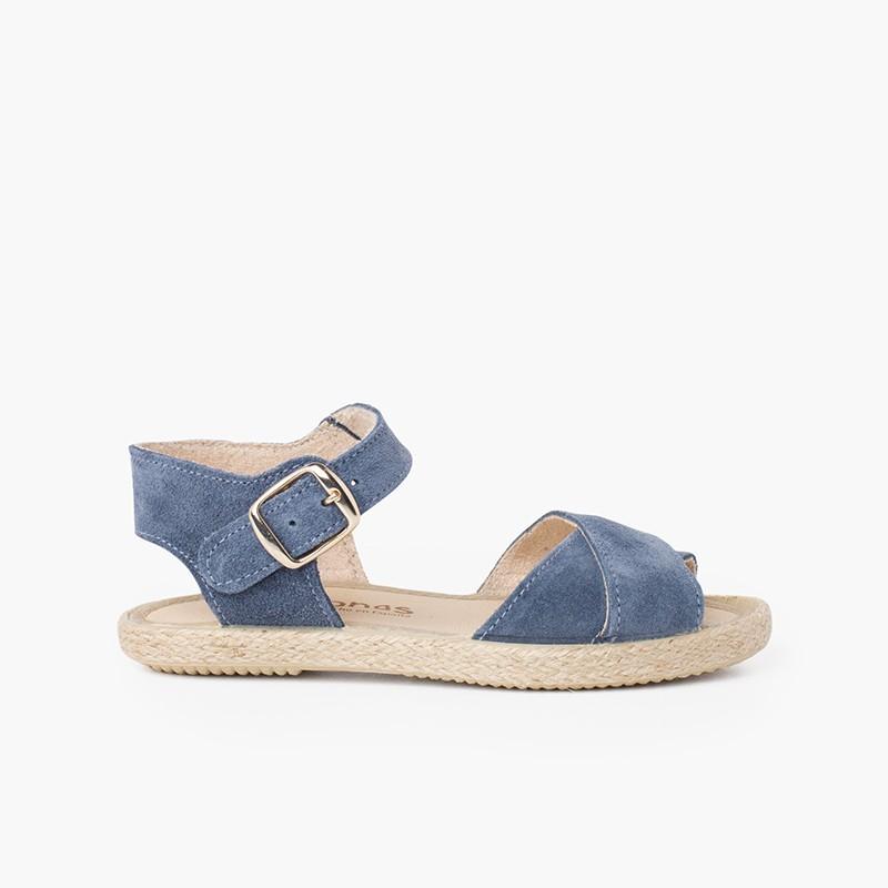 Sandalo Scamosciato Strisce Incrociati e Suola in Iuta